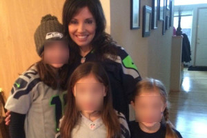 Photo of Ingrid Lyne and her children (children's faces are blurred for privacy)
